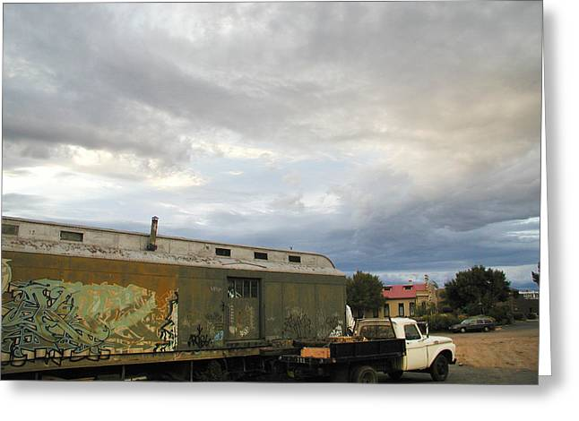 Railyard Greeting Cards - Old Santa Fe Railyard Greeting Card by Kathleen Grace