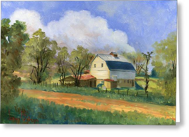 White Barns Greeting Cards - Old Saunders Barn Greeting Card by Jeff Brimley
