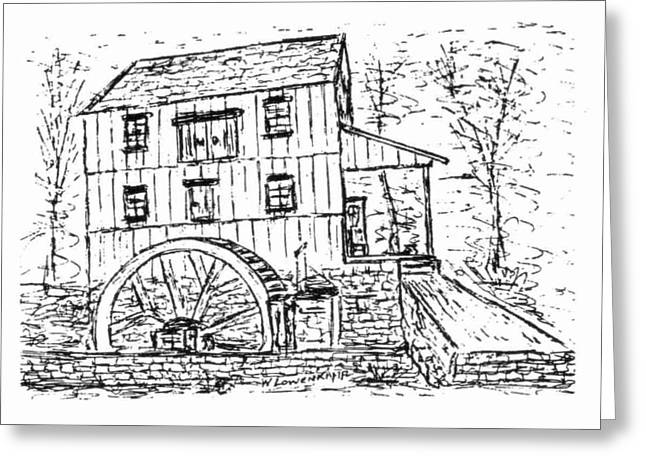 Saw Drawings Greeting Cards - Old Saw Mill Greeting Card by William Lowenkamp