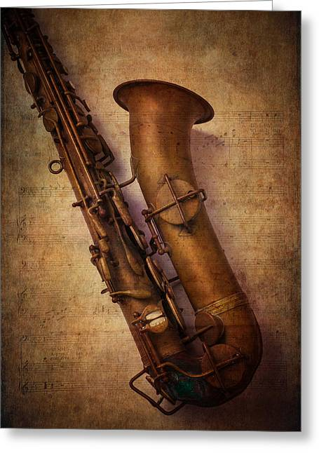 Horns Greeting Cards - Old Sax Greeting Card by Garry Gay