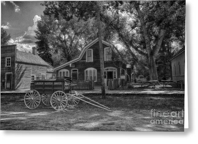 Horse And Cart Greeting Cards - Old Scene-Baker Wagon Greeting Card by Darcy Michaelchuk