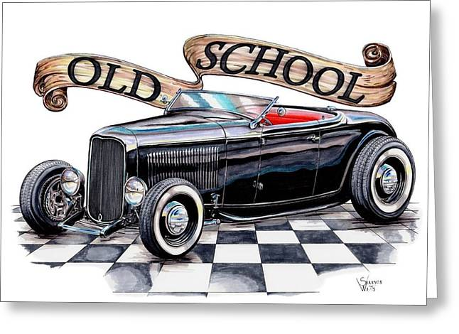 1932 Ford Greeting Cards - Old School 32 Ford Roadster Greeting Card by Shannon Watts