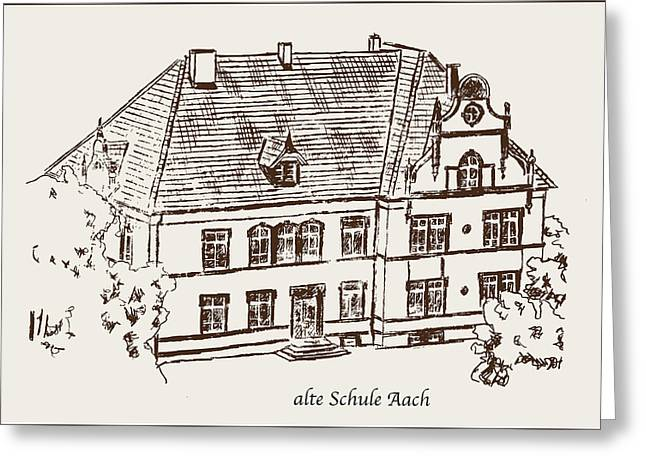 Old School House Drawings Greeting Cards - Old School Aach Greeting Card by Michael Kuelbel