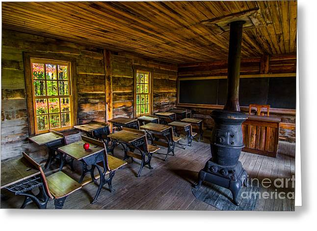 Old School House Greeting Cards - Old school Greeting Card by Anthony Heflin