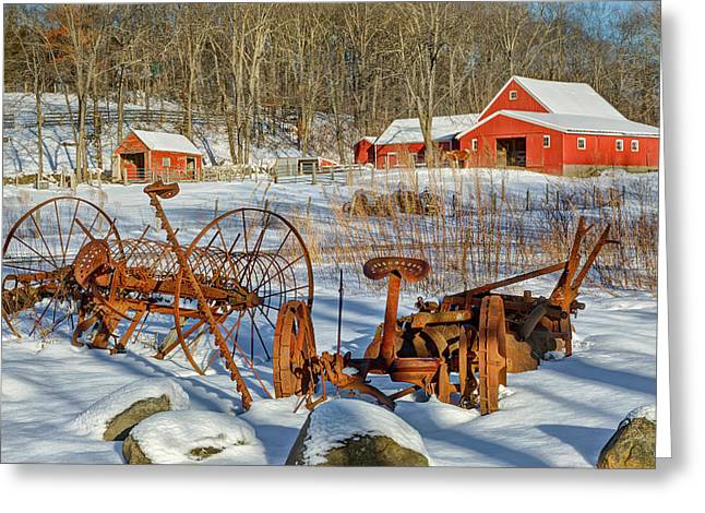 Old Farm Equipment Greeting Cards - Old School Greeting Card by Bill  Wakeley