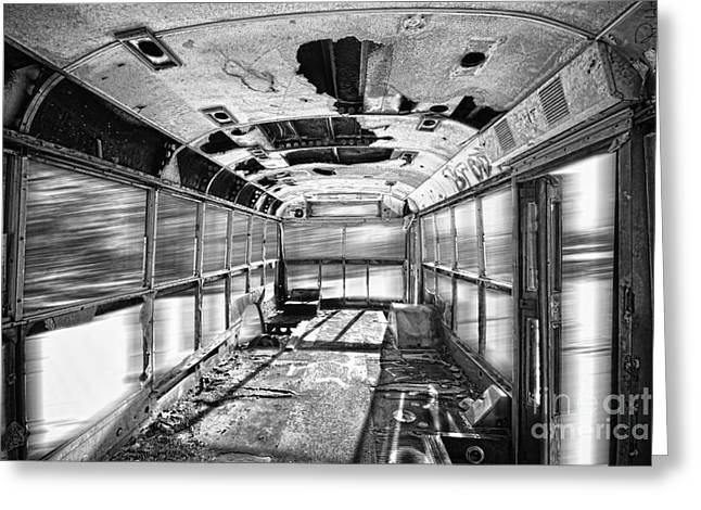 School Bus Print Greeting Cards - Old School Bus In Motion BW HDR Greeting Card by James BO  Insogna