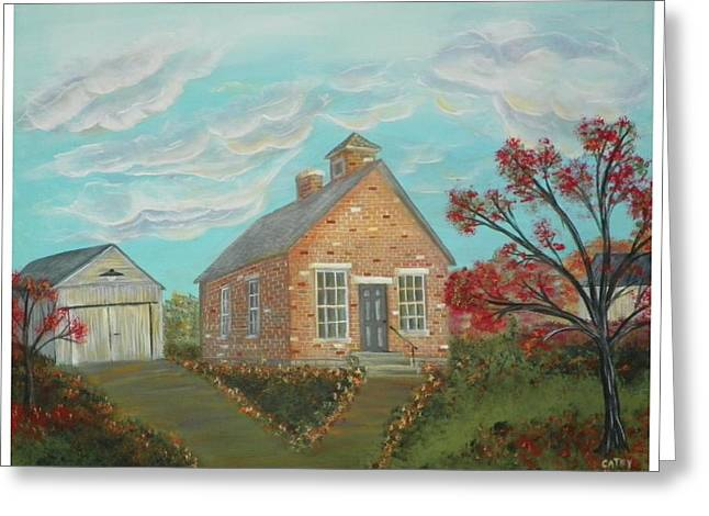 Old School Houses Paintings Greeting Cards - Old School Greeting Card by Cathy Hodgson