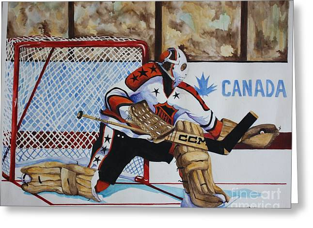 All-star Mixed Media Greeting Cards - Old School Goalie Greeting Card by Alan Salvaggio
