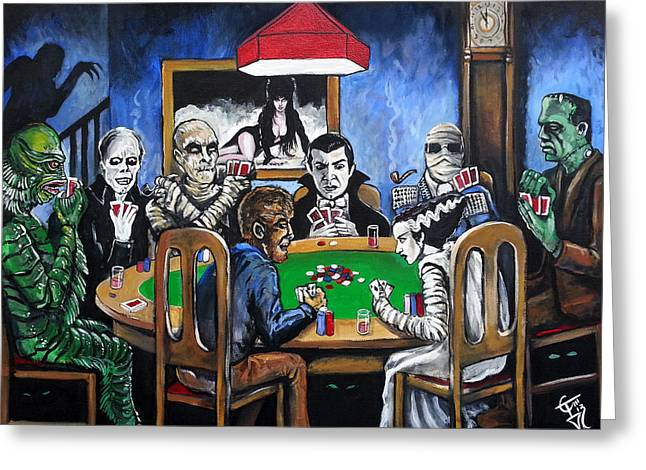 Classic Horror Greeting Cards - Old School Horror Card Game Greeting Card by Tom Carlton