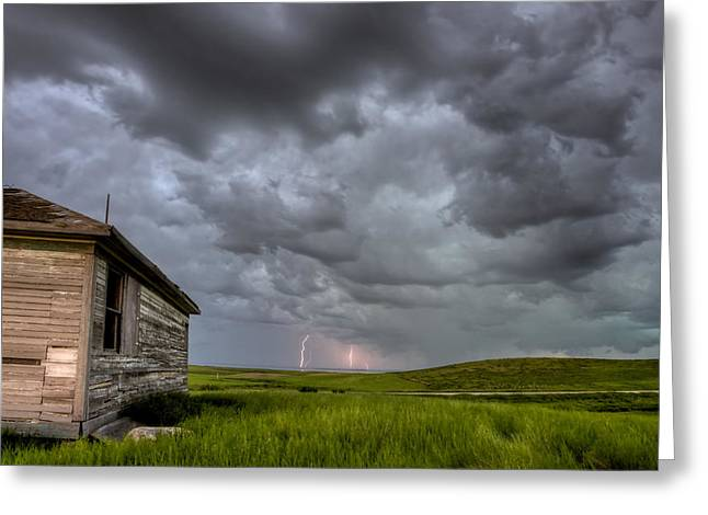 Paradise Meadow Greeting Cards - Old School House and Lightning Greeting Card by Mark Duffy