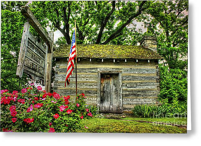 Log Cabin Art Greeting Cards - Old School House Greeting Card by Darren Fisher