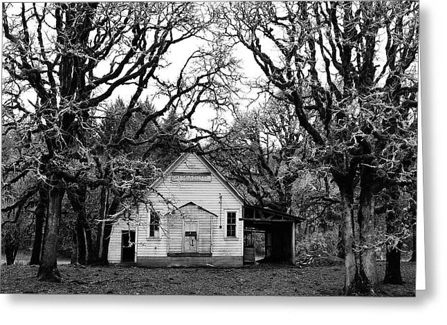 Abandoned School House. Greeting Cards - Old School House in the Woods Greeting Card by Thomas J Rhodes