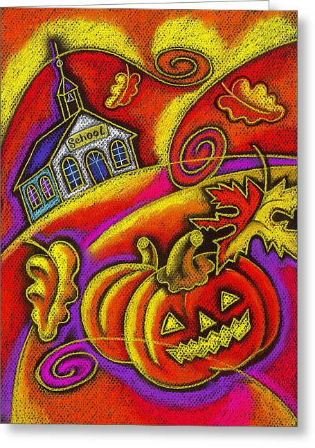 Patch Paintings Greeting Cards - Old School House Greeting Card by Leon Zernitsky
