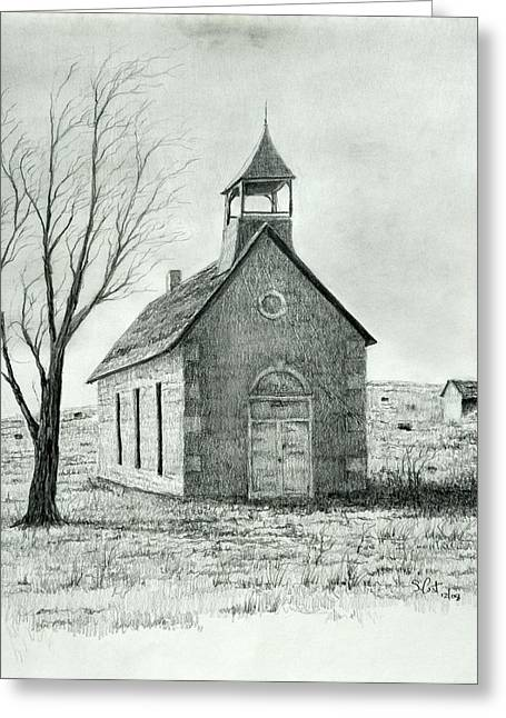 Old School House Drawings Greeting Cards - Old School House Greeting Card by Steve Cost