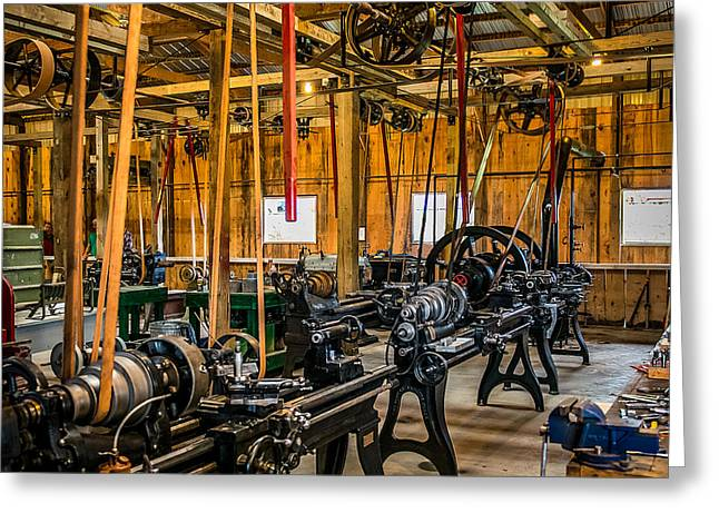 Belt Driven Greeting Cards - Old School Machine Shop Greeting Card by Paul Freidlund
