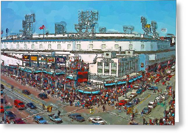 Baseball Art Greeting Cards - Old School Opening Day Greeting Card by John Farr