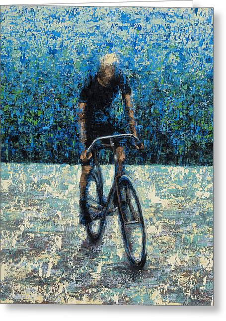 Bike Riding Greeting Cards - Old School Riding Greeting Card by Ned Shuchter