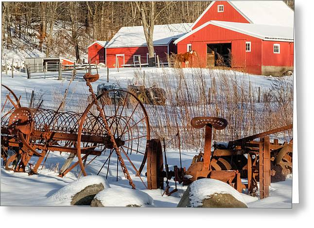 Old Farm Equipment Greeting Cards - Old School Square Greeting Card by Bill  Wakeley