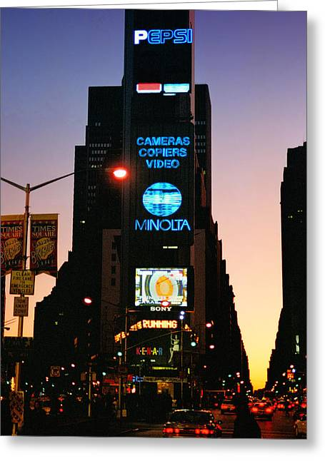 Broadway St Greeting Cards - Old School Times Square Greeting Card by Joann Vitali