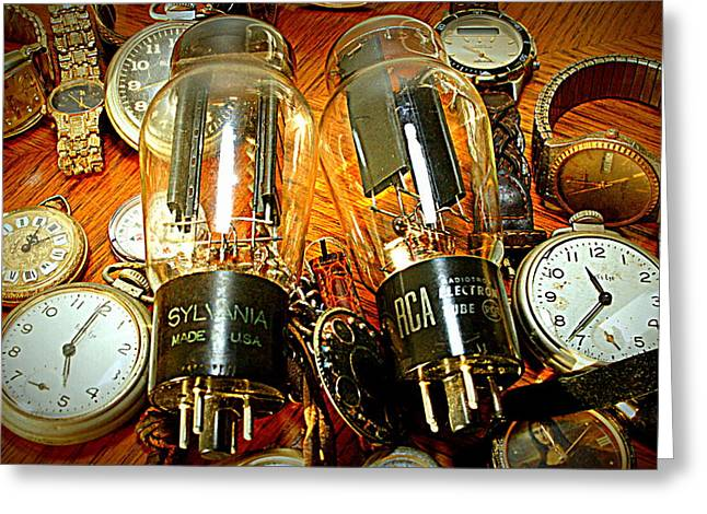 Old School Tube And Time Greeting Card by Danny Jones
