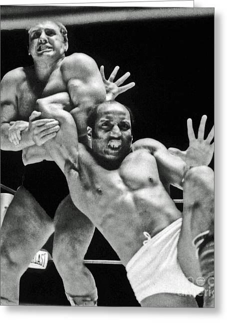 Celebrities Pyrography Greeting Cards - Old School Wrestling Arm Lock by Tony Rocco on Sir Earl Maynard Greeting Card by Jim Fitzpatrick