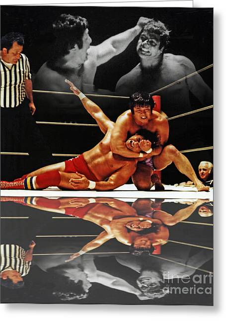 San Francisco Bay Greeting Cards - Old School Wrestling Headlock by Dean Ho on Don Muraco with Reflection Greeting Card by Jim Fitzpatrick