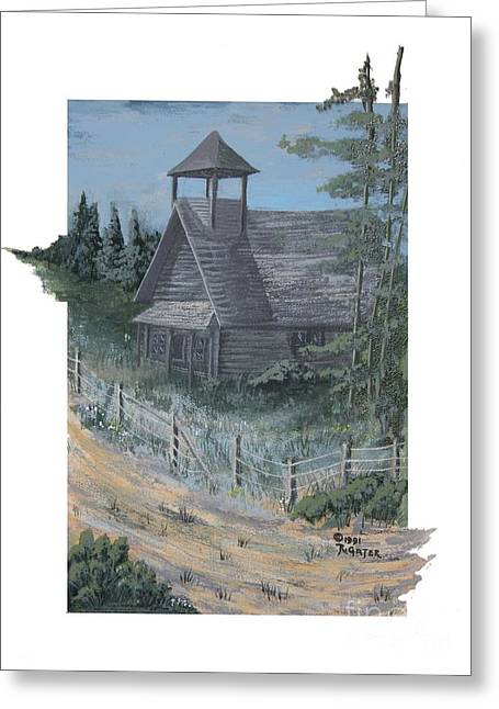 Abandoned School House. Paintings Greeting Cards - Old Country Schoolhouse Greeting Card by Ronald Gater
