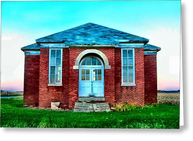Country Schools Greeting Cards - Old Schoolhouse Greeting Card by Julie Dant