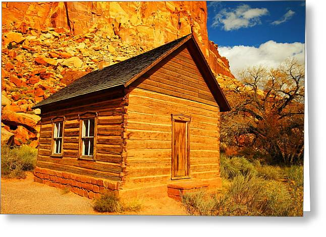 Old School House Photographs Greeting Cards - Old Schoolhouse Near Capital Reef Utah Greeting Card by Jeff  Swan