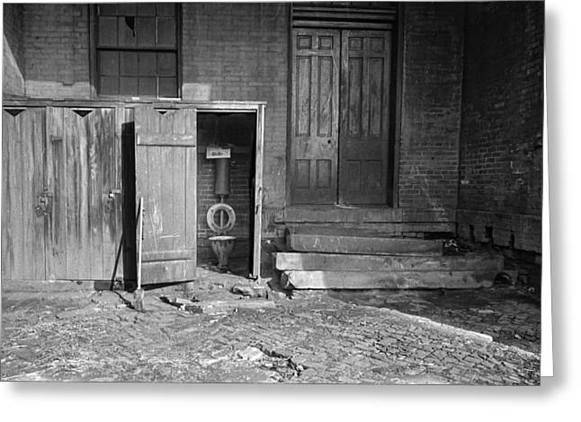 Wooden Outhouse Greeting Cards - Old Schoolhouse Outhouses Greeting Card by Daniel Hagerman