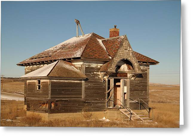 Schoolhouse Greeting Cards - Old Schoolhouse outside of Williston North Dakota Greeting Card by Jeff  Swan
