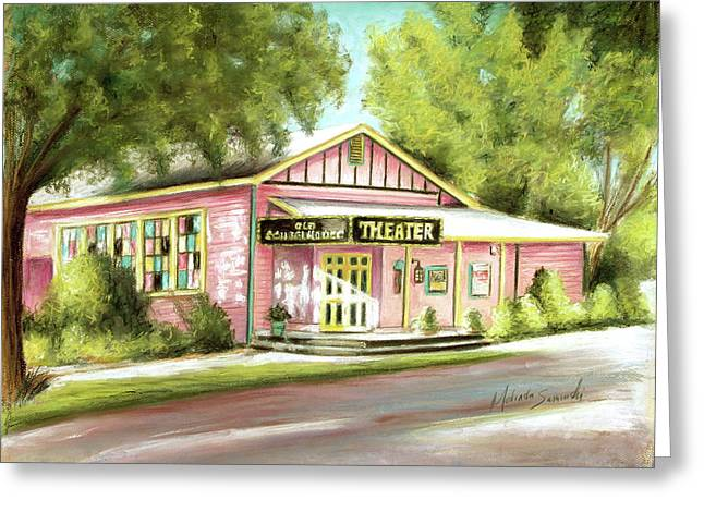Island Artist Pastels Greeting Cards - Old Schoolhouse Theater on Sanibel Island Greeting Card by Melinda Saminski