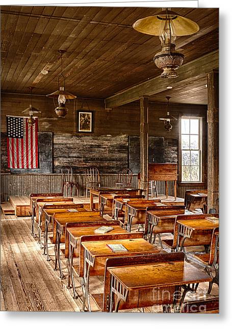Classroom Greeting Cards - Old Schoolroom Greeting Card by Inge Johnsson