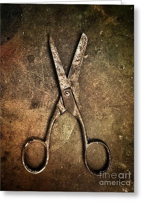 Sewing Supplies Greeting Cards - Old Scissors Greeting Card by Carlos Caetano