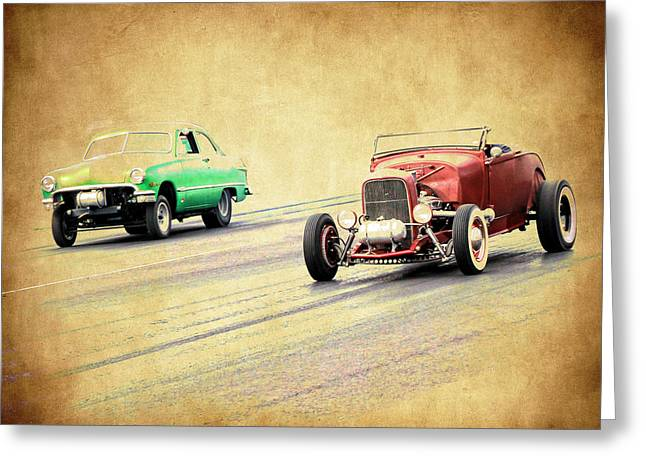 Rusted Cars Greeting Cards - Old Scool Racing Greeting Card by Steve McKinzie