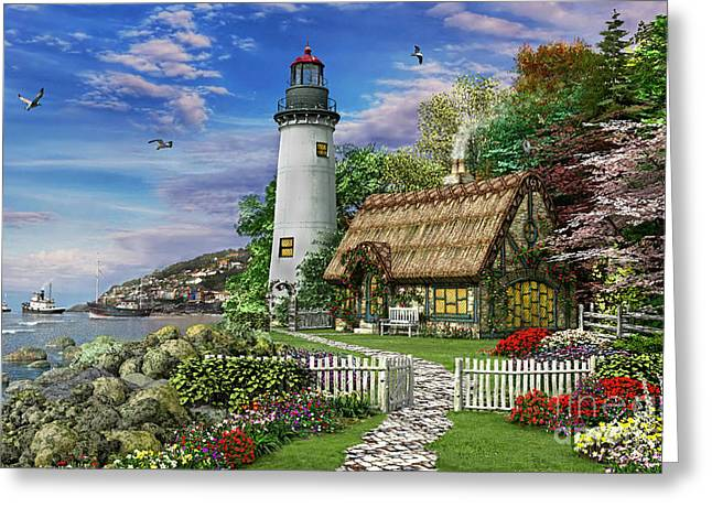 Picket Fence Greeting Cards - Old Sea Cottage Greeting Card by Dominic Davison