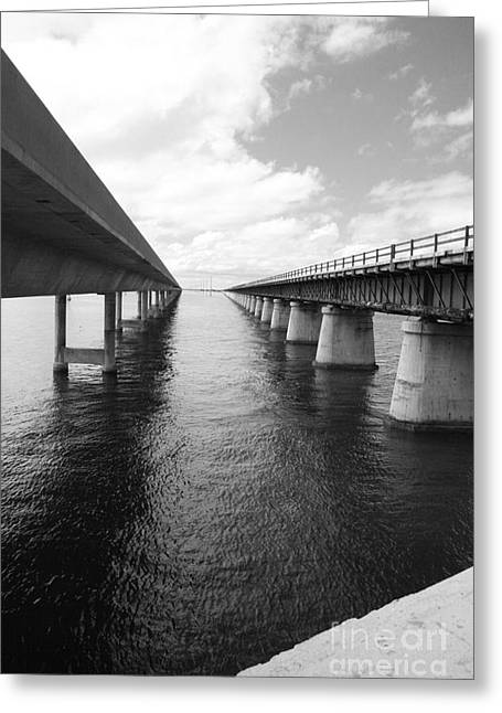 Bahia Honda State Park Greeting Cards - Old Seven Mile Bridge And New Bridge Greeting Card by Christiane Schulze Art And Photography