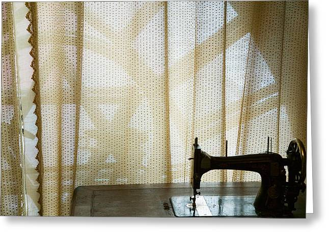 Old Photography Greeting Cards - Old Sewing Machine In A Museum, Haerbin Greeting Card by Panoramic Images