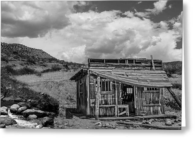 Shack Greeting Cards - Old Shack by a Creek Greeting Card by Michael Moriarty