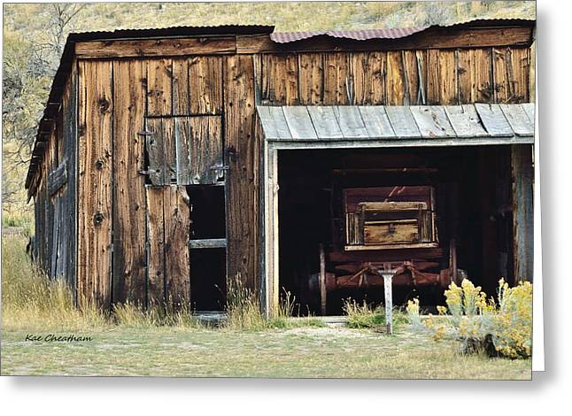 Historic Building Mixed Media Greeting Cards - Old Shed and Wagon Greeting Card by Kae Cheatham