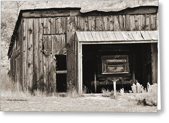 Wooden Shed Greeting Cards - Old Shed and Wagon with toninig Greeting Card by Kae Cheatham