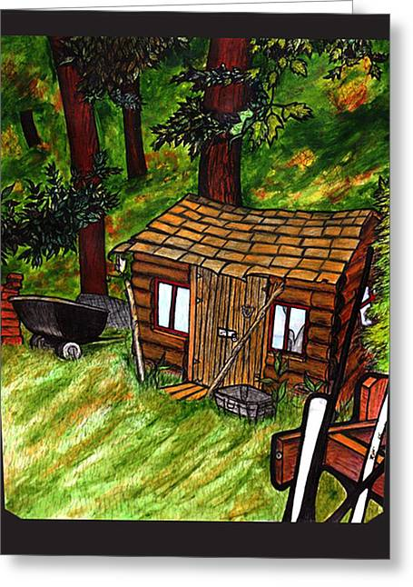 Shed Mixed Media Greeting Cards - Old Shed Shed Greeting Card by Ryan Lee