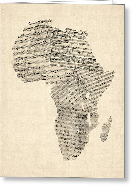 Africa Map Greeting Cards - Old Sheet Music Map of Africa Map Greeting Card by Michael Tompsett