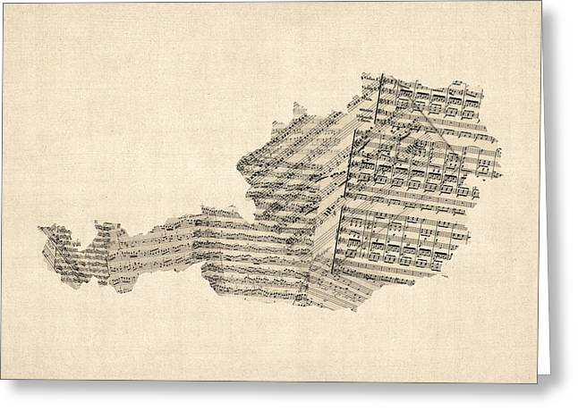 Austria Greeting Cards - Old Sheet Music Map of Austria Map Greeting Card by Michael Tompsett
