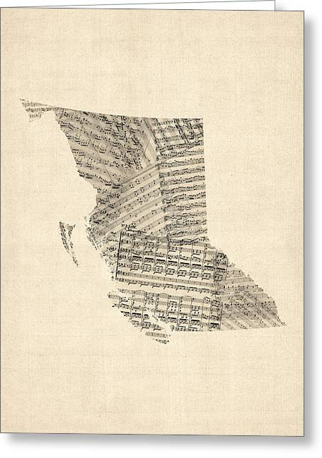 Music Score Digital Art Greeting Cards - Old Sheet Music Map of British Columbia Canada Greeting Card by Michael Tompsett