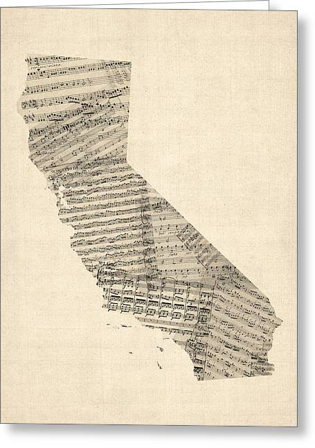 Music Score Digital Art Greeting Cards - Old Sheet Music Map of California Greeting Card by Michael Tompsett