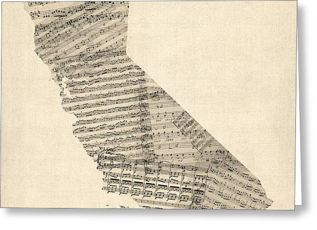 Old Sheet Music Map of California Greeting Card by Michael Tompsett