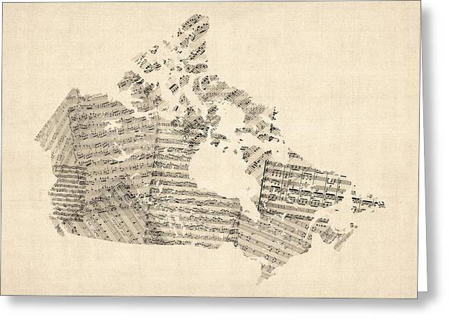 Sheet Greeting Cards - Old Sheet Music Map of Canada Map Greeting Card by Michael Tompsett