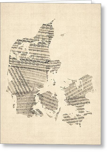 Music Score Digital Art Greeting Cards - Old Sheet Music Map of Denmark Greeting Card by Michael Tompsett