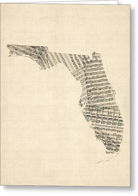 Florida Art Greeting Cards - Old Sheet Music Map of Florida Greeting Card by Michael Tompsett